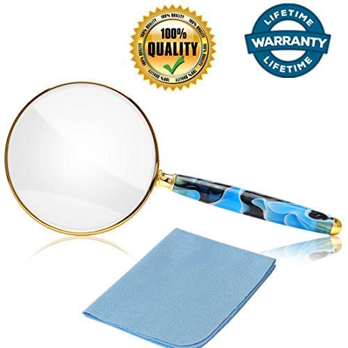 5X Magnifying Glass,Metal Frame Real Glass Handheld Magnifier for Seniors, Macular Degeneration,Reading Book, Map,Inspection, Coins, Insects, Small Prints,Classroom Science,Great Gift Idea