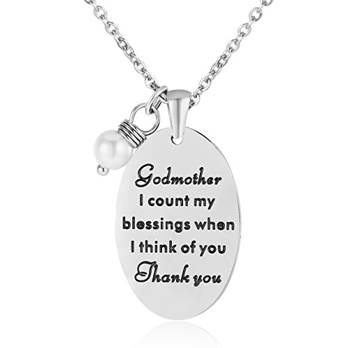 ELOI Godmother Gifts Necklace Pendant Thanksgiving Christmas Stainless Steel Godmother Jewelry Charms (Thanking For The Gift)