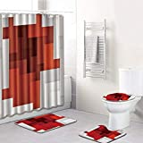 Aibiner Bathroom Rug Shower Curtain Mat 4-Piece Set Printed Non Slip Shower Mat & Contour Rug & Toilet Lid Cover & Shower Curtain Durable Waterproof Home Bathroom Decor
