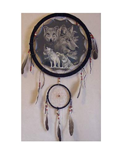 Decorative Dream Catcher with White Wolves Print - Handmade Home Decor for Living Room, Bedroom, and Doors - With Feathers and A Large Printed Fabric with Wildlife Inspired Images - 13