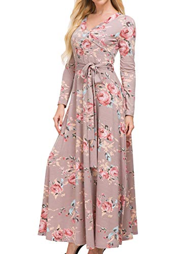 Simier Fariry Womens Long Sleeve Casual Fit and Flare Loose Warp Fall Maxi Dress with Belt XL