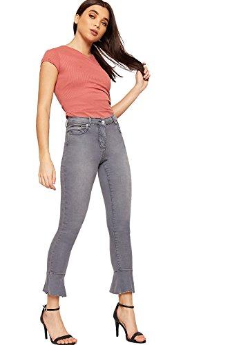 Jeans Dames tendue Jambe Longueur Toile Volant Plein Femmes WearAll Maigre Poche De 34 vase Gris 42 clair Fermeture qv6wgF