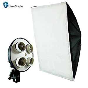 LimoStudio Photography Studio 20 x 28 inch Light Soft Box Reflector with 4 Socket Light Bulb Adapter with External White Diffuser Cover, Photo Studio, AGG856