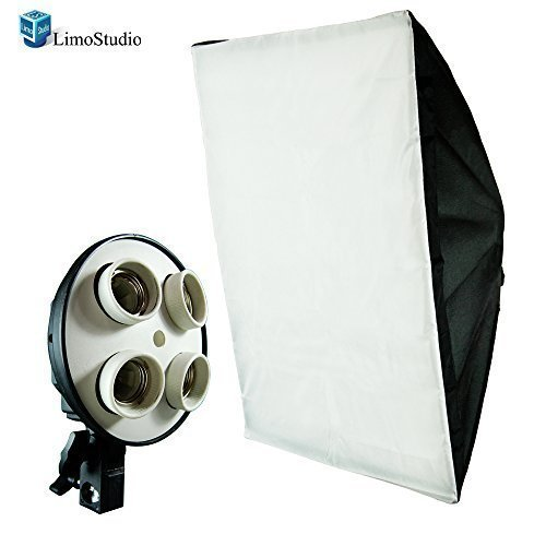 LimoStudio Photography Studio 20 x 28 inch Light Soft Box Reflector with 4 Socket Light Bulb Adapter with External White Diffuser Cover, Photo Studio, AGG856 by LimoStudio
