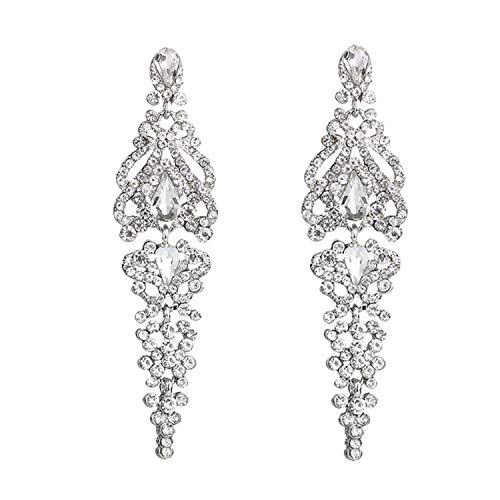 Mondora Bridal Dangle Earrings Chandelier Women's Austrian Crystal Pierced Silver-Tone Clear