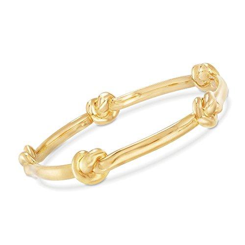 Ross-Simons Certified Italian Andiamo 14kt Yellow Gold Knot Station Bangle Bracelet