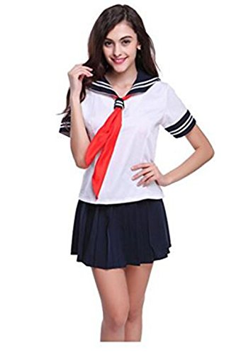 Evalent Japanese Anime Clothes Classic Navy Sailor Suit Long Sleeve Girl Students School Uniforms White (L) (Sailor Dress Uniform)