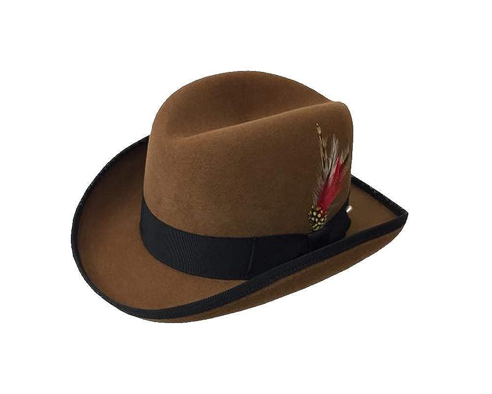 EZ Tuxedo Deluxe Homburg Fedora Hat in Whiskey with Black Band