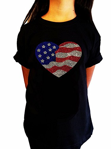 Girl's Fashion T-shirt with 4th of July American Flag Heart in Rhinestones (7-8) ()