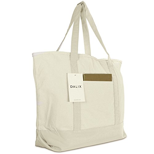 "22"" Heavy Duty Cotton Canvas Tote Bag (Zippered) (Natural)"
