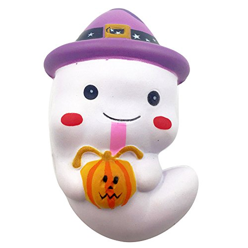 Kirbyates_Toys 12cm Cute Simulation Ghost Squeeze Slow Rising Fun Squishy Toy Phone Strap Stress Reliever -