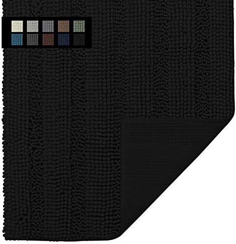 Easy-Going Luxury Chenille Striped Pattern Bath Mat, 18x25 in, Soft Plush Bath Rug, Absorbent Bathroom Rug, Non Slip Perfect Carpet Rugs for Shower, Bedroom, Front Door, Enterway (Black)