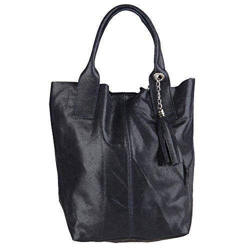Chicca Borse Mujer Bolsa de compras en cuero genuino Made in Italy 39x36x20 Cm Azul oscuro