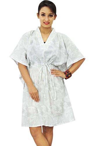 Boho algodón Kaftan hippy más el tamaño de las mujeres African Beach Cover Up Mujeres Caftan Blanco