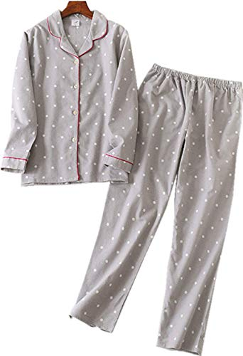 Comfy Pajamas for Womens Warm and Cozy 2-Piece Flannel Pj Set of Loungewear Button Front Top Pants -greydot -S ()
