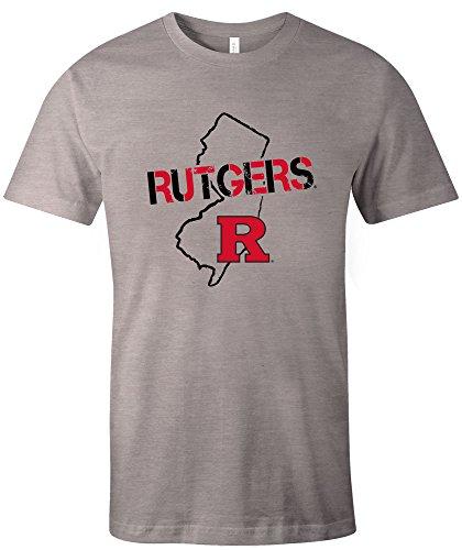 NCAA Rutgers Scarlet Knights Adult Unisex NCAA Stenciled Short sleeve Triblend T-Shirt,XL,AthleticGrey