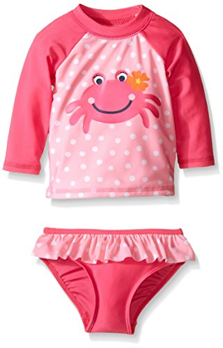 Sol Swim Little Girls' Toddler Sweety Crab Rashguard Set, Sweety Crab, 4T