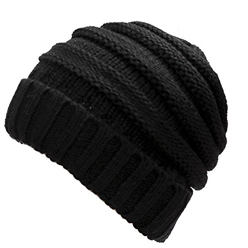 DEMTER Unisex Winter Warm Cable Knitting Hat Parent-Child Hats Wool Baggy Slouchy Thick Beanie Skull Cap For Women Men 2 Packs (Black)