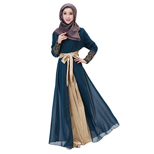 iZHH Womens Dresses Long Maxi Dress Dubai Patchwork Gown Islam Abaya Muslim Clothing ()