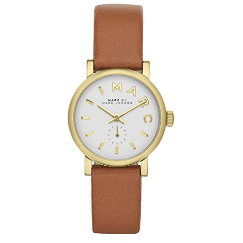 Marc by Marc Jacobs MBM1317 Tan Brown Leather Strap Gold Bezel Ladies Watch