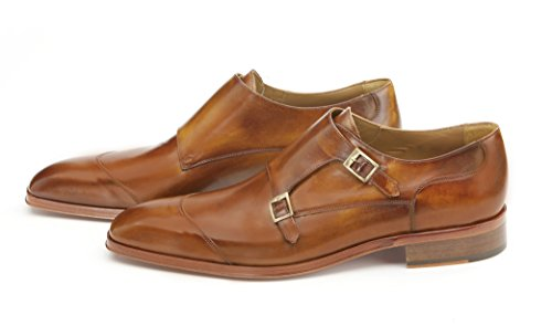 Mister Shoes Derby with two buckles, Upper material: handicraft coloured cowhide in brown and yellow shades at our factory, Lining: kidskin leather, Leather sole.