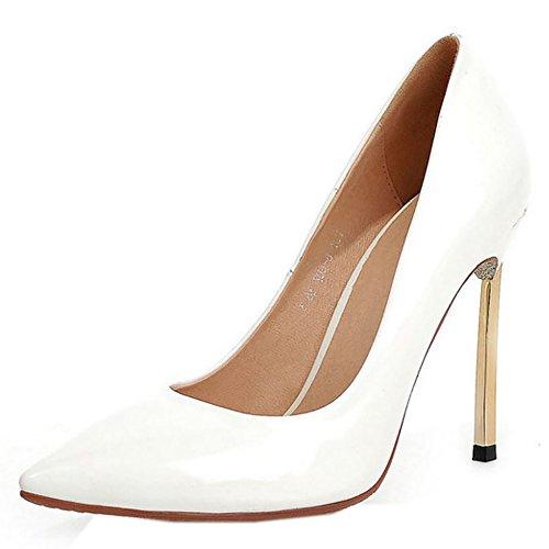 COOLCEPT Mujer Moda sin Cordones Boca Baja Zapatos Tacon de Aguja Puntiagudo Zapatos Blanco