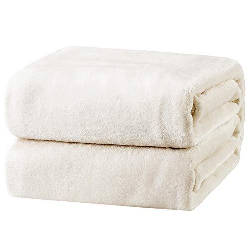 Bedsure Flannel Fleece Luxury Blanket Cream Throw Size Lightweight Cozy Plush Microfiber Solid Blanket (Fleece Throws)