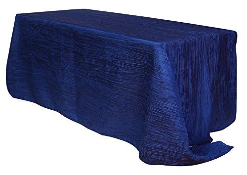 Your Chair Covers - 90 x 132 inch Rectangular Crinkle Taffeta Tablecloth Navy Blue, Rectangle Table Linens for 6 ft Rectangular Tables, Wedding Crushed Table ()