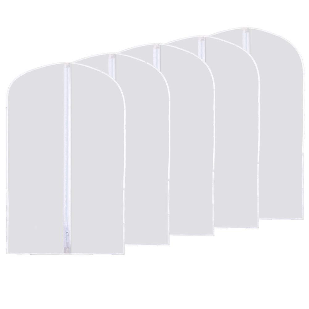 Garment Bag, Kathy Moth Proof Garment Cover Clear Dustproof Breathable Full Zipper Suit Bag Pack of 5, White