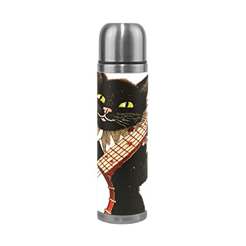 LEISISI Cat Playing Banjo Stainless Steel Water Bottle Leak-Proof Vacuum Insulated Flask Pot Sport Double Wall Water Bottle PU Leather Travel Thermos Mug 17 Oz