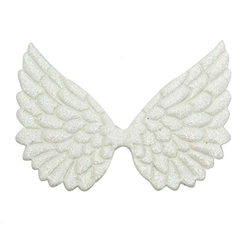 Monrocco 10pcs Glitter Fabric Angel Wings Embossed Angel Wing Patches for DIY Crafts Hair Accessories ()