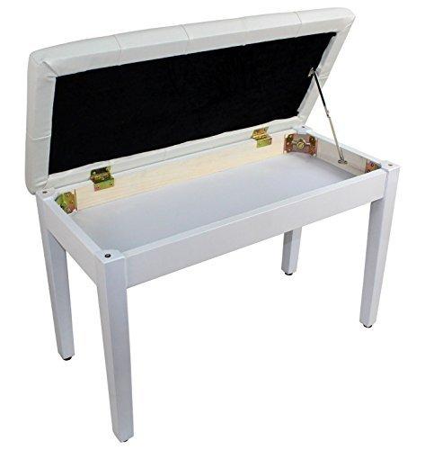 YMC White Ebony Wood Leather Piano Bench Padded Double Duet Keyboard Seat Storage (White)