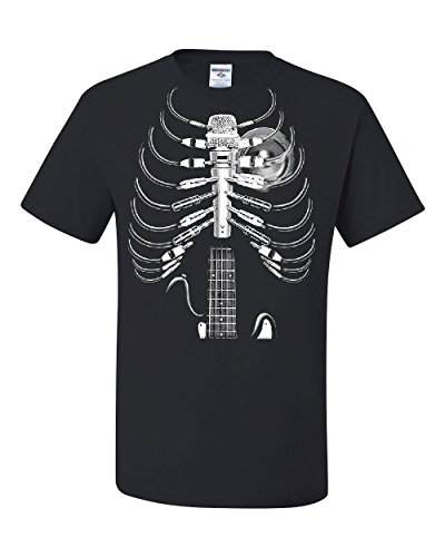 Rib Cage Tee (Amped Up T-Shirt Music Guitar Skeleton Rib Cage Rock Star Tee Shirt Black L)