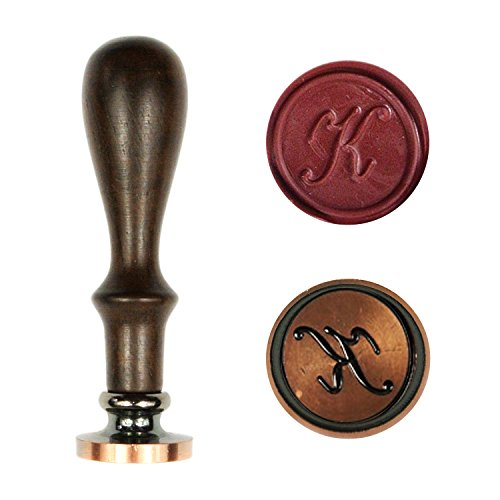 UNIQOOO Arts & Crafts Vintage Initial Letter K Wax Seal Stamp - Copper Stamp & Padauk Wood Handle - Exceptional Gift Idea for Artistic Types, Earthy Folks, and Everyone In-between