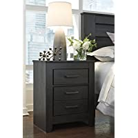 Brinxony Casual Black Two Drawer Night Stand