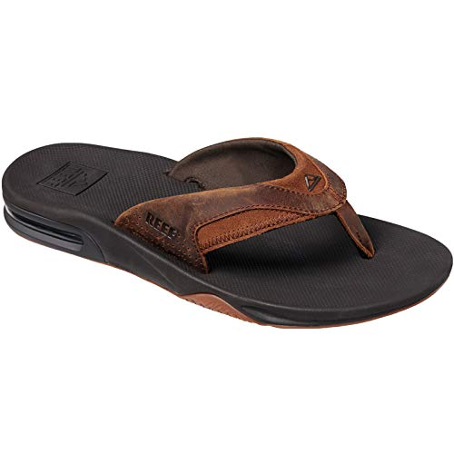 Reef Men's Leather Fanning Sandal, Bronze, 150 Medium US