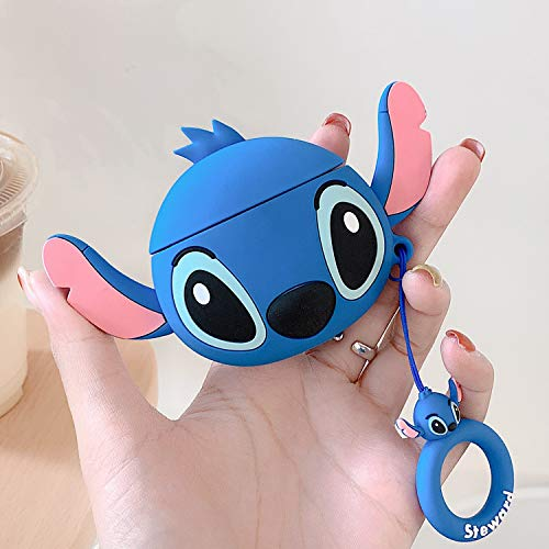 (Lalakaka for Airpods 1/2 Cute Case,Cartoon Character Silicone Animal Airpod 1&2 Designer Skin Kawaii Funny Fun Cool Keychain Ring Design Cover Kids Teens Air pod Cases for Girls Boys(Ear Blue Stitch))