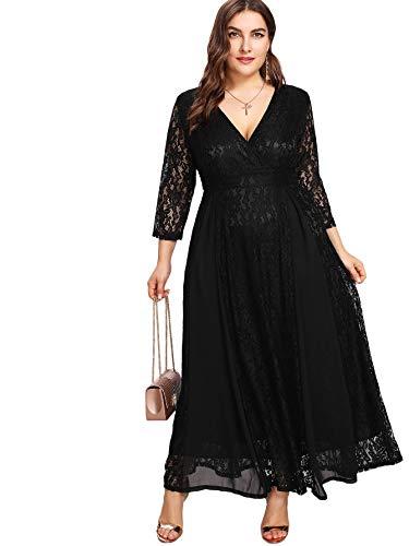 f44a4e6d7102 Floerns Women's Plus Size High Waist Lace Wrap Maxi Cocktail Party Dress