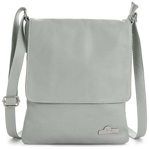 Size AMBER Womens Handbag Leather Light LIATALIA Body Shoulder Italian Medium Soft Cross Real Purse Grey 4xCwwP7nqg