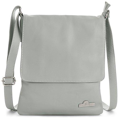 Soft Real Medium Cross AMBER LIATALIA Womens Light Leather Size Grey Purse Body Italian Shoulder Handbag 4Twwq15t