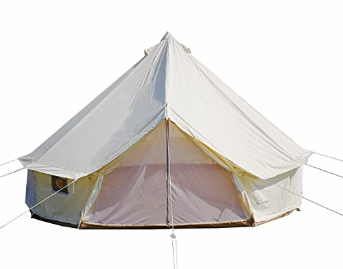 DANCHEL Four-Season Waterproof Bell Tent for Glamping, 16.4ft Dia. Color White Cream (Once On A High And Windy Hill)