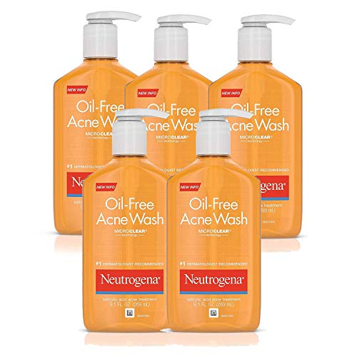 Neutrogena Oil-Free Acne Fighting Face Wash, Daily Cleanser with Salicylic Acid Acne Treatment, 9.1 fl. oz (Pack of 5)
