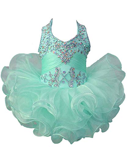 HuaiLian Baby Girls Halter Beaded Sequins Princess Infant Pageant Cupcake Dresses 06M ()