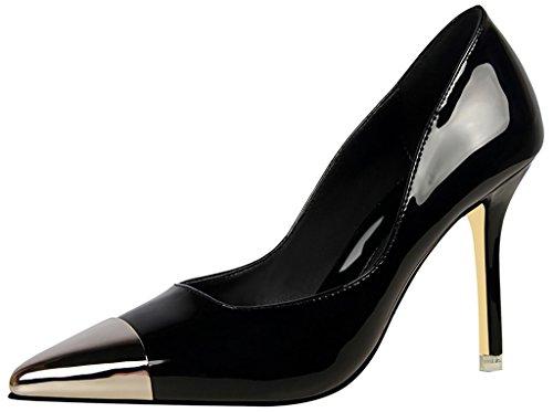 Zapatos De Tacón Alto Con Cordones Stiletto Jtabl De Punta Estrecha Para Mujer De Calaier, Negro