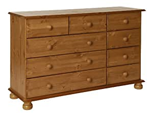 NJA Furniture Copenhagen - Cómoda de pino (9 cajones, 74 x 121 x 39cm), color marrón