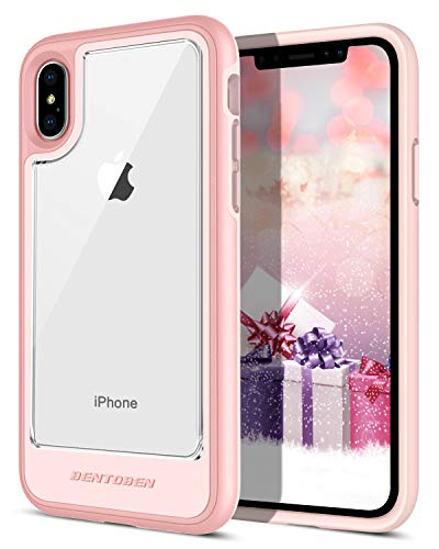 BENTOBEN iPhone XS Case (2018), iPhone X Case, Slim Clear Crystal Shockproof Detachable Hard Back Reinforced Frame Bumper 2 in 1 Protective Case for Apple iPhone XS/iPhone X/10 (5.8 inch), Rose Gold