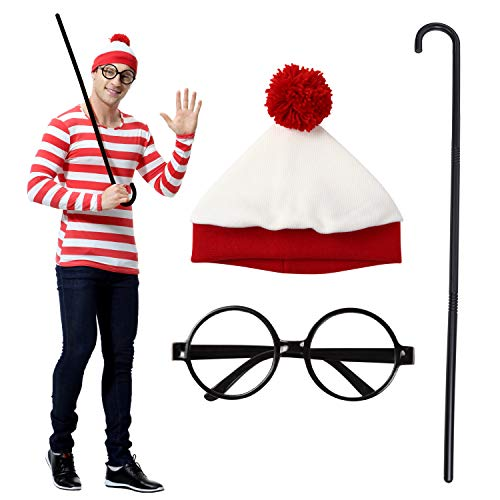 AmaFanhop Where's Wally? Wally Wenda Cane Costume Unisex Size M~XXL ()
