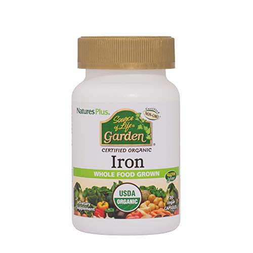Natures Plus Source of Life Garden Iron - 18 mg, 30 Vegan Capsules - USDA Certified Organic Plant Based Iron Supplement, Promotes Cardiovascular Health - Vegetarian, Gluten Free - 30 Servings