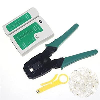EpicDealz Cable Tester +Crimp Crimper +100 Rj45 Cat5 Cat5e Connector Plug Network Tool Kit