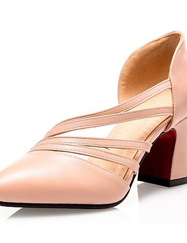 ZQ Zapatos de mujer-Tac¨®n Robusto-Tacones-Tacones-Boda / Vestido / Casual / Fiesta y Noche-Semicuero-Negro / Blanco / Almendra , white-us10.5 / eu42 / uk8.5 / cn43 , white-us10.5 / eu42 / uk8.5 / cn4 green-us5.5 / eu36 / uk3.5 / cn35